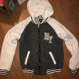 Zip up hooded sweatshirt jacket